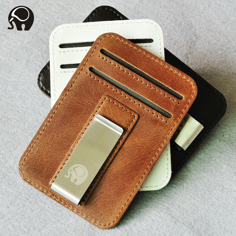 Minimalist Wallet Credit Card Holder Genuine Leather Business ID Card Holder Organizer Badge Porte Carte Slim Wallet