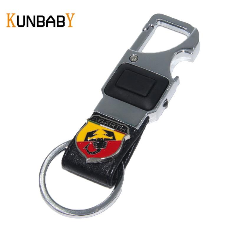 KUNBABY Car Accessories Leather Car Key Chain Metal Keyring Key Ring for  FIAT Abarth 500 Punto Stilo Freemont Car Key Holder