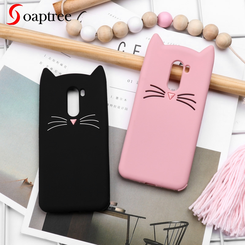 Soaptree Silicone Case For Xiaomi Pocophone F1 Cases Cute Beard Cat Soft Cover Poco Phone Protective Covers