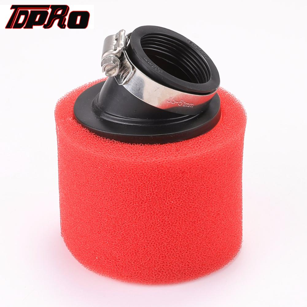 TDPRO New 38mm 45mm Red Motorcycle Air Filter Double Foam Cleaner Pod For 90cc 110cc 140cc 150cc Pit Dirt Bike ATV Quad Scooter