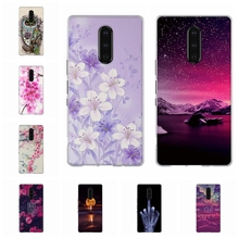 For Sony Xperia 1 Phone Case Ultra-slim Soft TPU Silicone Cover 3D Floral Pattern Funda Bag