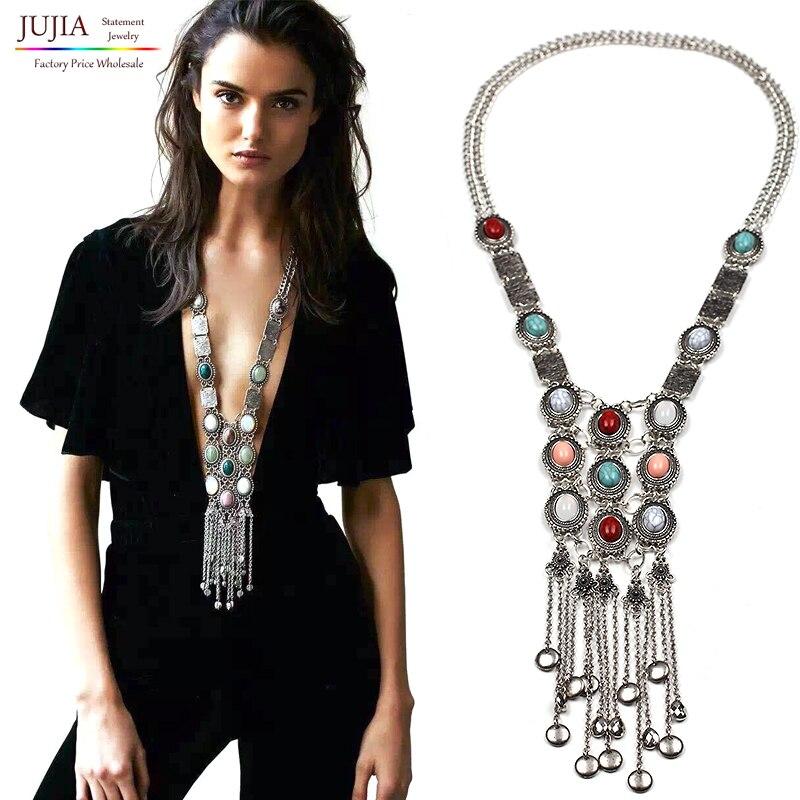 Prix pour Bohême Femmes chic maxi Colliers Mode Vintage long gland pendentif Déclaration Colliers et Pendentifs Colliers Bijoux