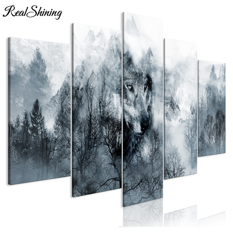 5 panel Multi pictures Wild Animals Wolf mountain 5d diy Diamond painting full Square round Drill