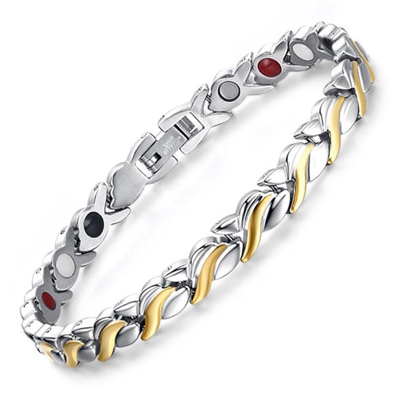 LITTLE FROG Fashion Health Magnetic Bracelet For Womens Stainless Steel Magnet Germanium Care Bracelet Hand Chain 10205