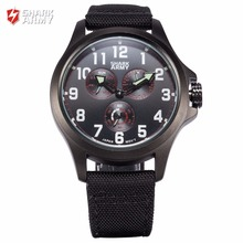 SHARK ARMY Stainless Steel Black Red Auto Date Relogio Nylon Strap Clock Men Sporting Quartz Wristwatch Military Watches /SAW131
