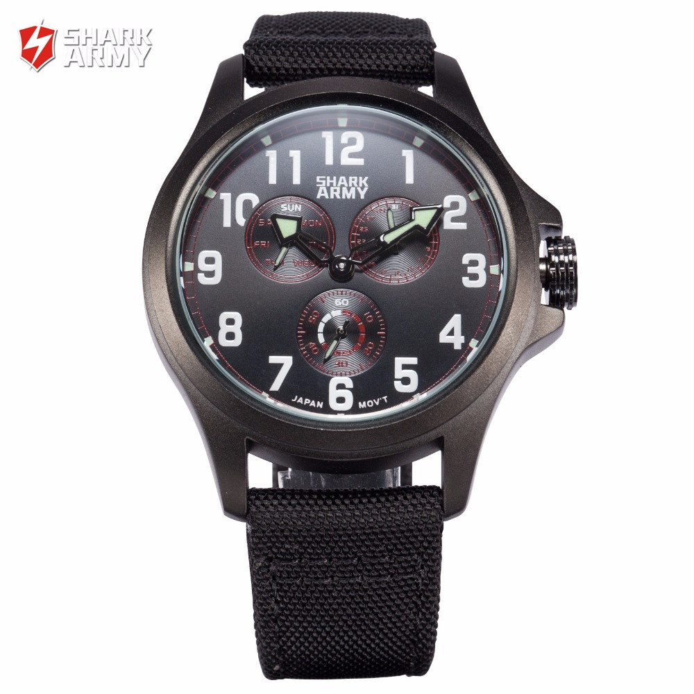 SHARK ARMY Stainless Steel Black Red Auto Date Relogio Nylon Strap Clock Men Sporting Quartz Wristwatch