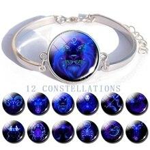 Zodiac Signs Glass Dome Silver Plated Charm Bracelet Jewelry Fashion Bracelets for Women Birthday Gifts Her