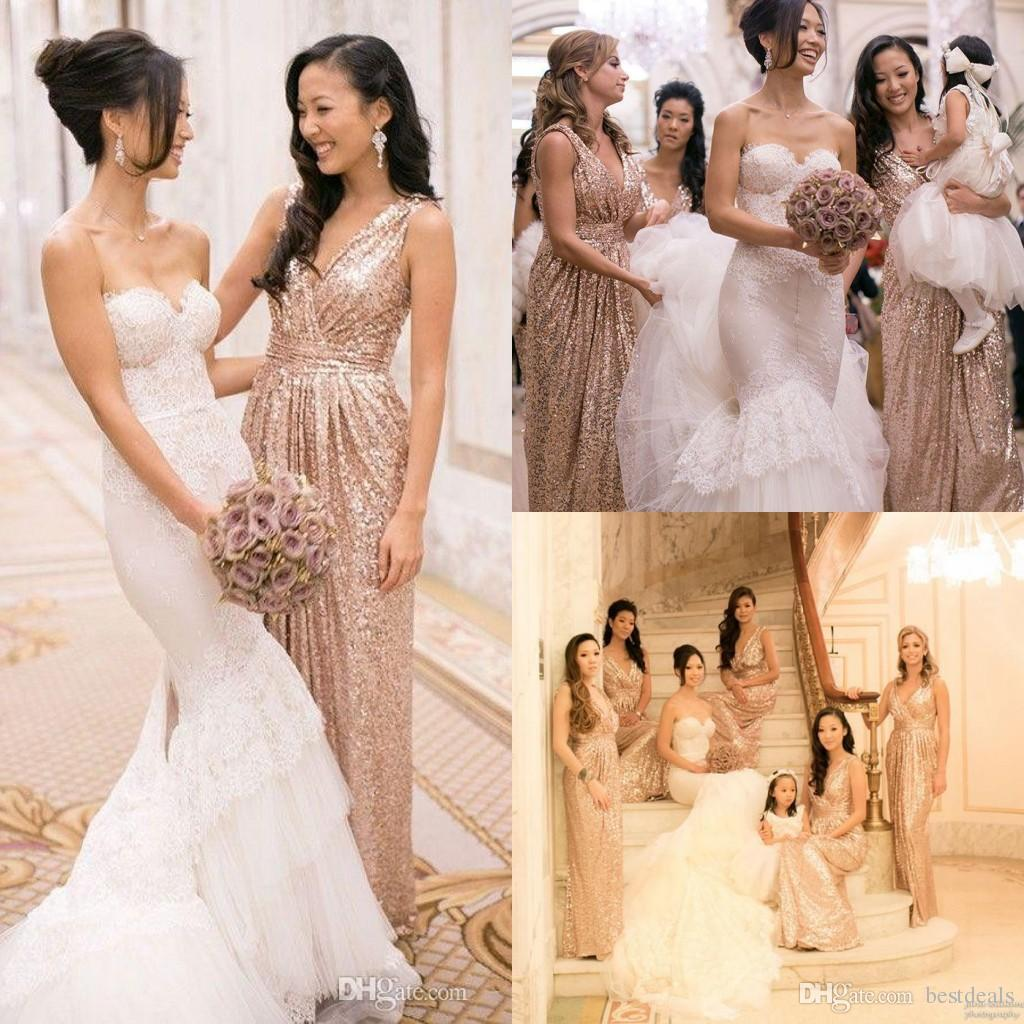 Popular sequined dress long gold bridesmaid buy cheap sequined 2017 rose gold long sequin bridesmaid dress cheap v neck pleats ruched a line wedding gust ombrellifo Image collections