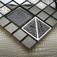 Modern black metal stainless steel crystal glass mosaic tiles EHM1052 for kitchen backsplash tile bathroom shower wall cover