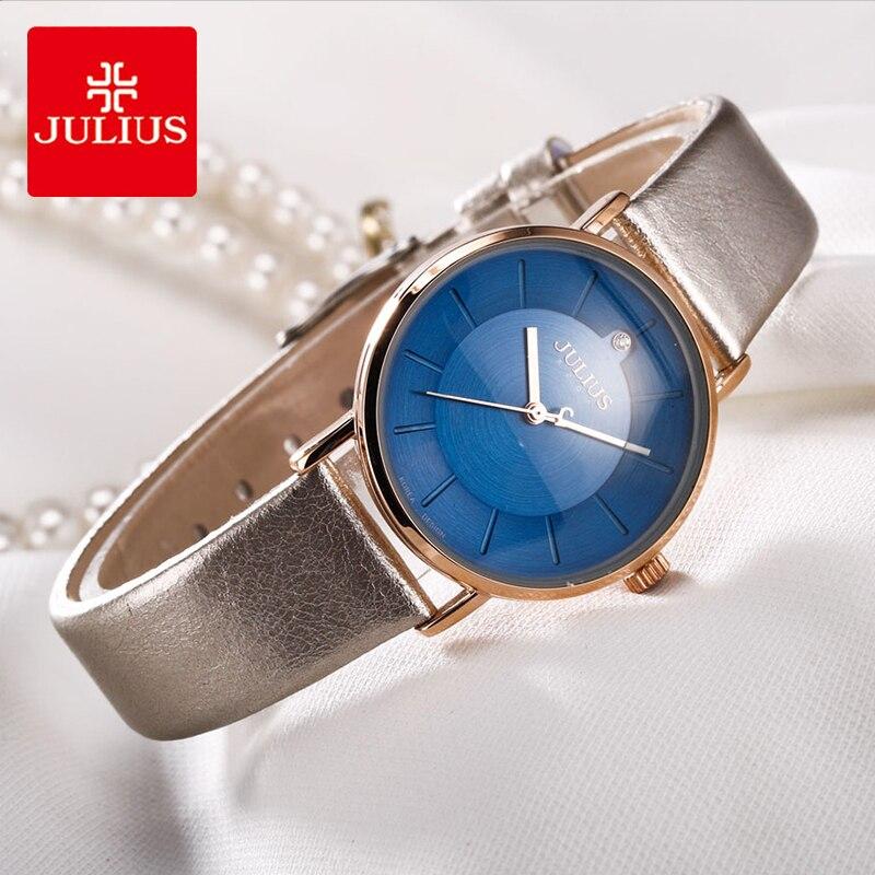 Julius Brand Simple Leather Watch Woman Classic Blue Dial Waterproof Quartz Dress Wristwatches Female 2018 New Montre Femme