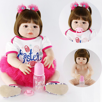"bebes reborn full silicone reborn baby dolls 22""55cm NPK real baby girl princess doll fashion children gift toy dolls"