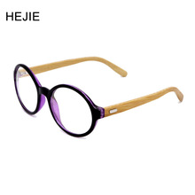 Fashion Men Women Hand Made Natural Bamboo Legs Eyeglasses Frames Clear Lens Round Full Frame Y1043