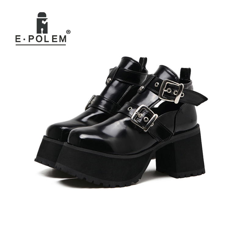 Punk Rivet Rock Harajuku Round Toe Martin Boots for Women Genuine Leather Thick Sole High Heel Platform Shoes Female Ankle Boots women martin boots 2017 autumn winter punk style shoes female genuine leather rivet retro black buckle motorcycle ankle booties