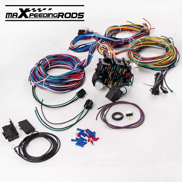 21 Circuit Wiring Harness for CHEVY Mopar Ford Hotrod UNIVERSAL Extra long Wires_640x640 21 circuit wiring harness for chevy mopar ford hotrod universal
