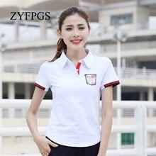 ZYFPGS 2019 Casual Polo Shirt Big Plus Size M-6xl Lapel Collar Female Short Sleeve Slim Cotton Tees Women L0520