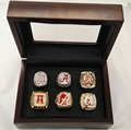 Wholesale Replica 6 Sets 1992/2009/2011/2012/2015/2015 Alabama Crimson Tide National Championship Rings With Wooden Boxes
