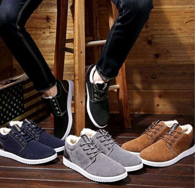 OllyMurs Plus thickening autumn winter outdoor leisure men boots warm tooling cotton shoes England boots men's shoes snow boots