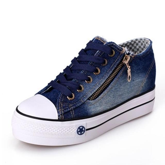 Free Shipping 2017 New Canvas Shoes Fashion Leisure Women Shoes Female Casual Shoes Jeans Blue 35-40