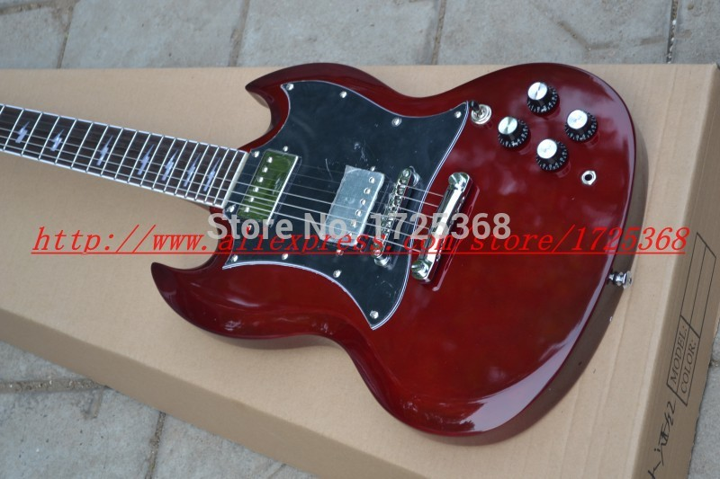 Electric Guitar Angus Young Signature Guitar In Dark Red, One PC Neck, High Qualtiy