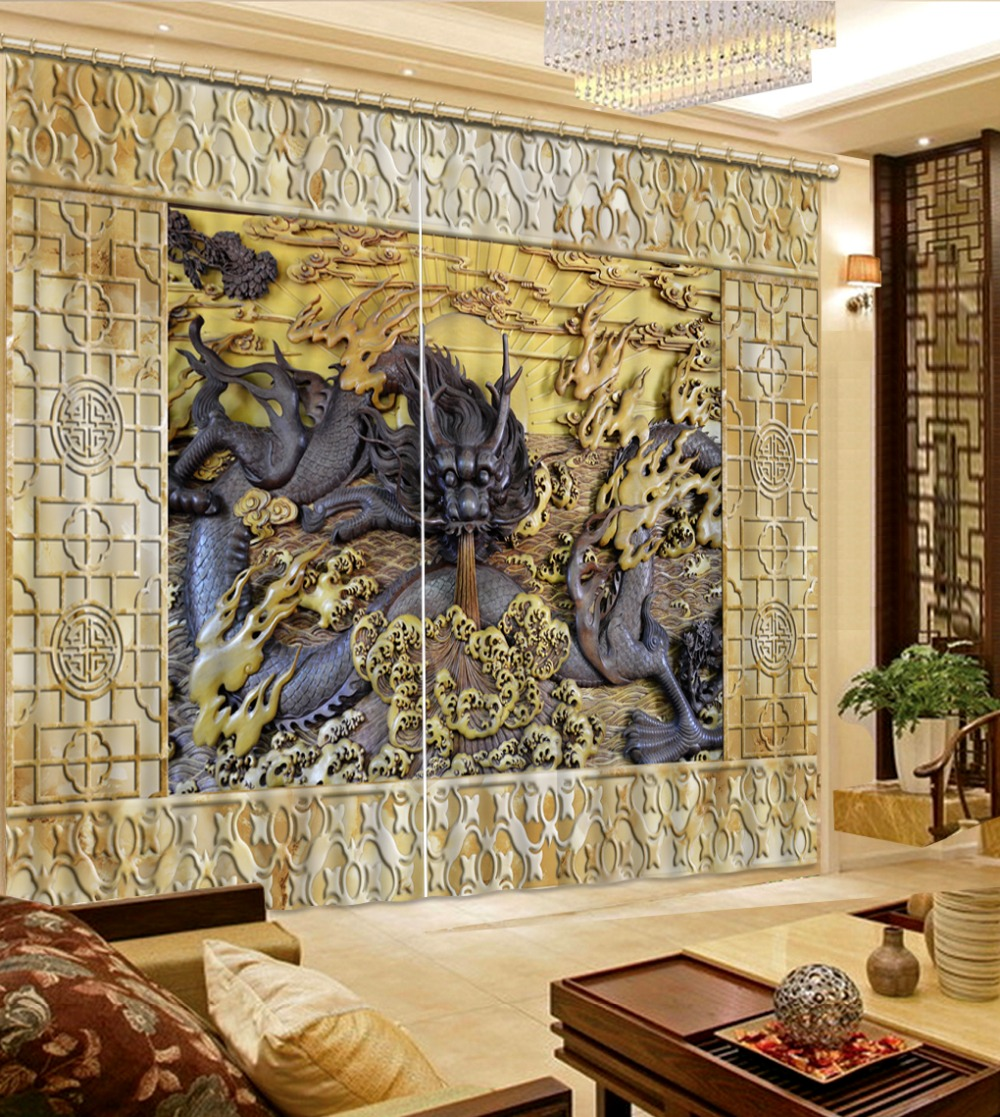 custom modern 3d curtains Wood carving of Chinese dragon curtains for living room kitchen blackout curtains window curtains