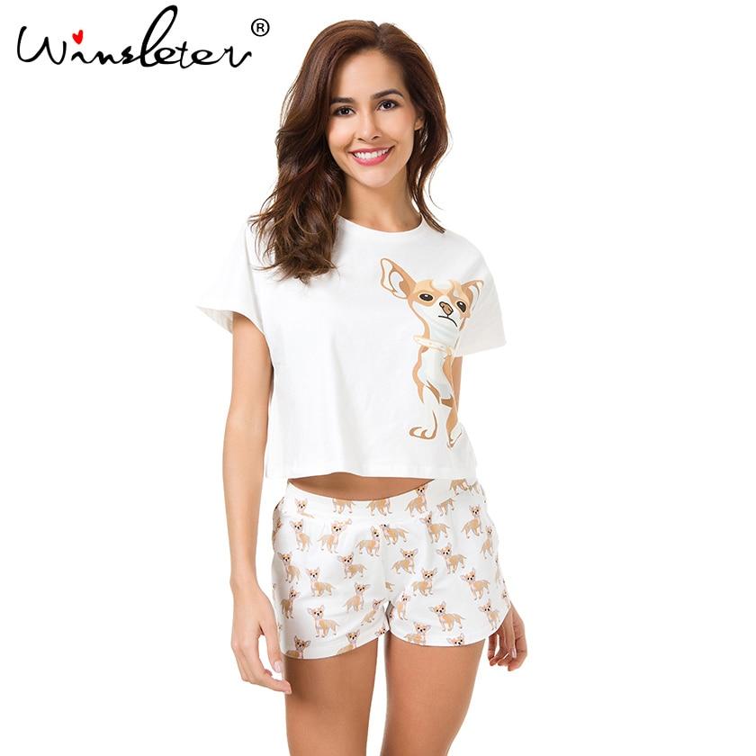 Cute Pajama Sets Cotton Chihuahua Print Crop Top + Shorts 2 Pieces Set Dog Pajamas Loose Top Elastic Waist Lounge Pijamas S61003