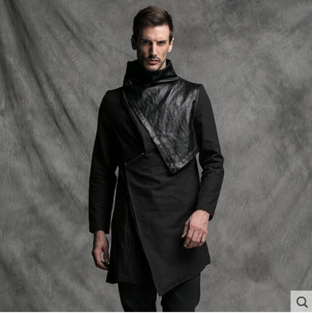 Fashionable male individual character is fashionable and cool and flaunting leather to design long paragraph coat   trench  . XS-6XL