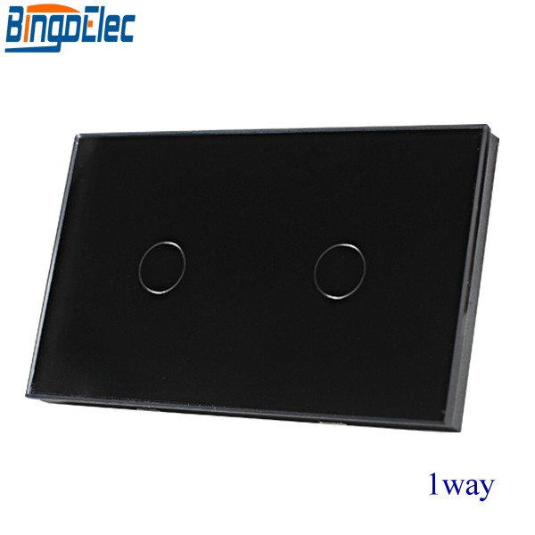 Good Quality AU/US Standard Bingoelec  Black Glass Panel 2gang 1way Touch Switch Electrical Wall Switch ,AC 110-250V,Hot sale. smart home us au wall touch switch white crystal glass panel 1 gang 1 way power light wall touch switch used for led waterproof