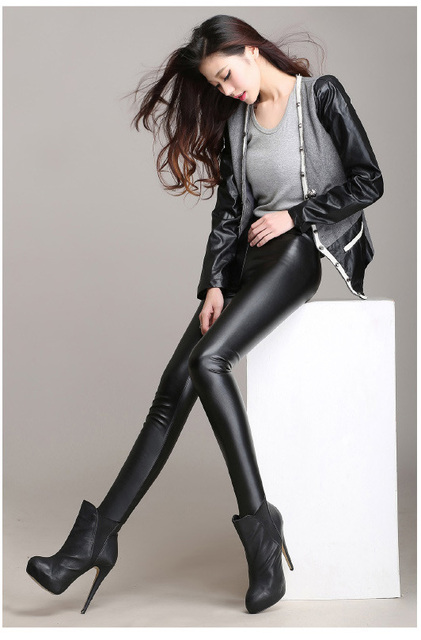 Euro 2016 Elastic plus size wool thicken PU women leggings impire high quality Autumn winter Super soft velvet ladies pants F51