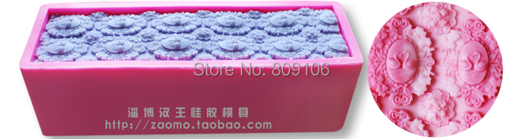 Rose /flowershape Rectangle silicone Mold soap mold Toast mold 1000 g Capacity 25*8*7CM