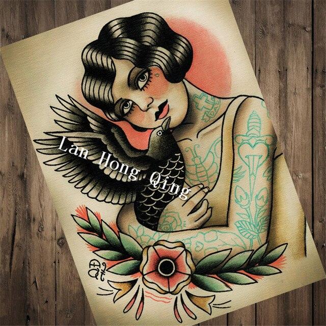 Vintage Fryzjer Tatuaże Papier Pakowy O Kobieta I Ptak Dla