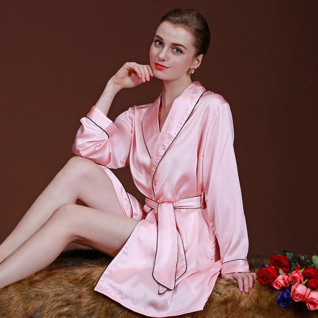 448babab58 Satin Bridesmaid Robes for women Long Sleeve Kimono Silk Home Bathrobe  Pajamas Sexy Lingerie Dressing Gown