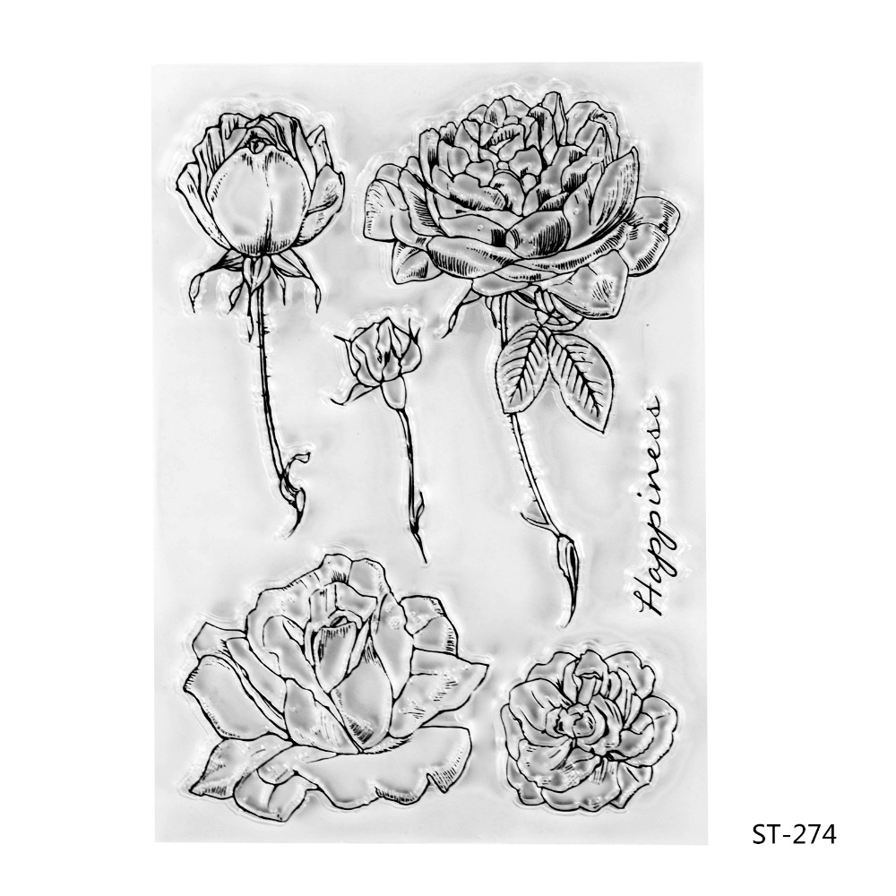 Peony Transparent Clear Silicone Stamp/seal for DIY Scrapbooking/photo Album Decorative Clear Stamp Sheets. kscraft love travelling transparent clear silicone stamp seal for diy scrapbooking photo album decorative clear stamp sheets