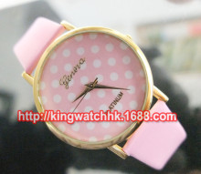 100pcs/lot, 2014 new woman Colorful Girl's Women's Sweet Small Dots Geneva Leather Quartz Wrist Watch