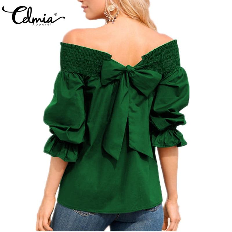 Celmia Cuello navy Casuales Bowknot Negro Vestido army wine Tamaño 2018 Las De blanco Barra Blusa Camisas Mujeres Verano Hombro royal Primavera Tops Plus Red Green Sexy Blusas rwrRqpxZ7
