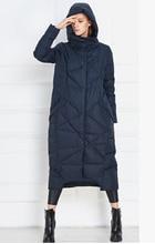 Бесплатная доставка дизайн европейский мода 2015 нью-зима роскошные женщин с капюшоном x-долго пуховик пальто женщин теплый пиджаки шинель