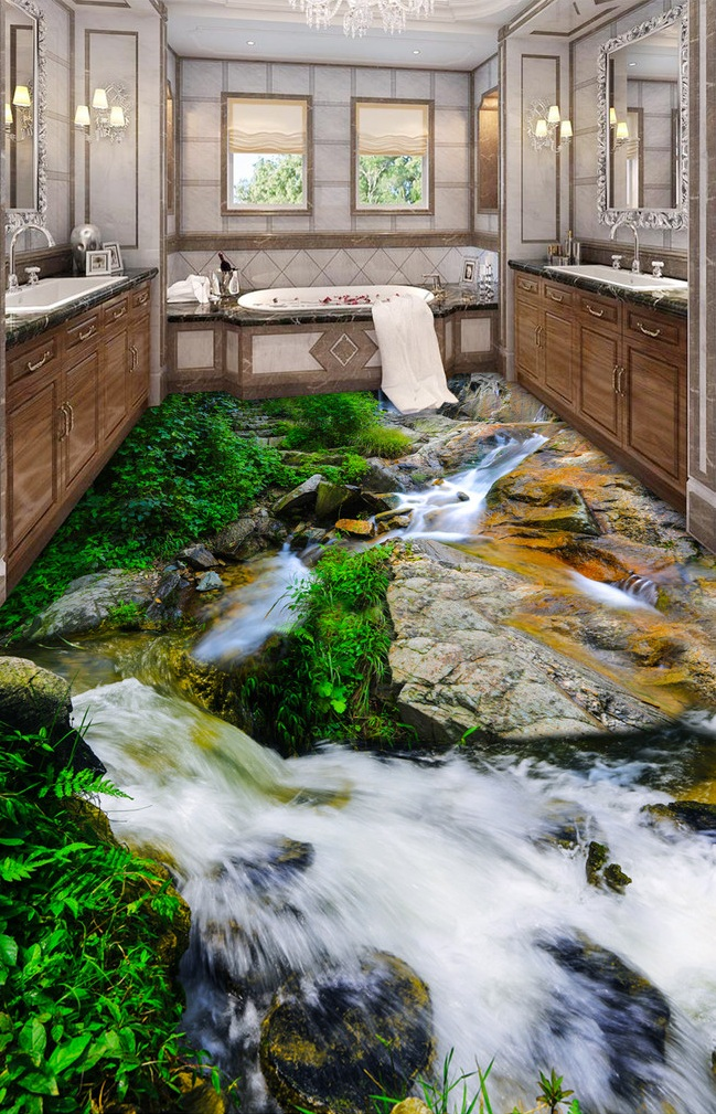 3 d pvc flooring custom wall sticker 3d River stone streams 3d bathroom flooring paintings photo 3d wall murals wallpaper flower bridge river pattern 3d wall art sticker