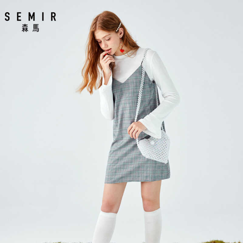 SEMIR набор для женщин 2019 Осень Новый полувысокий воротник вышитые рукава Труба футболка + клетчатое платье комплект одежды из двух предметов для женщин