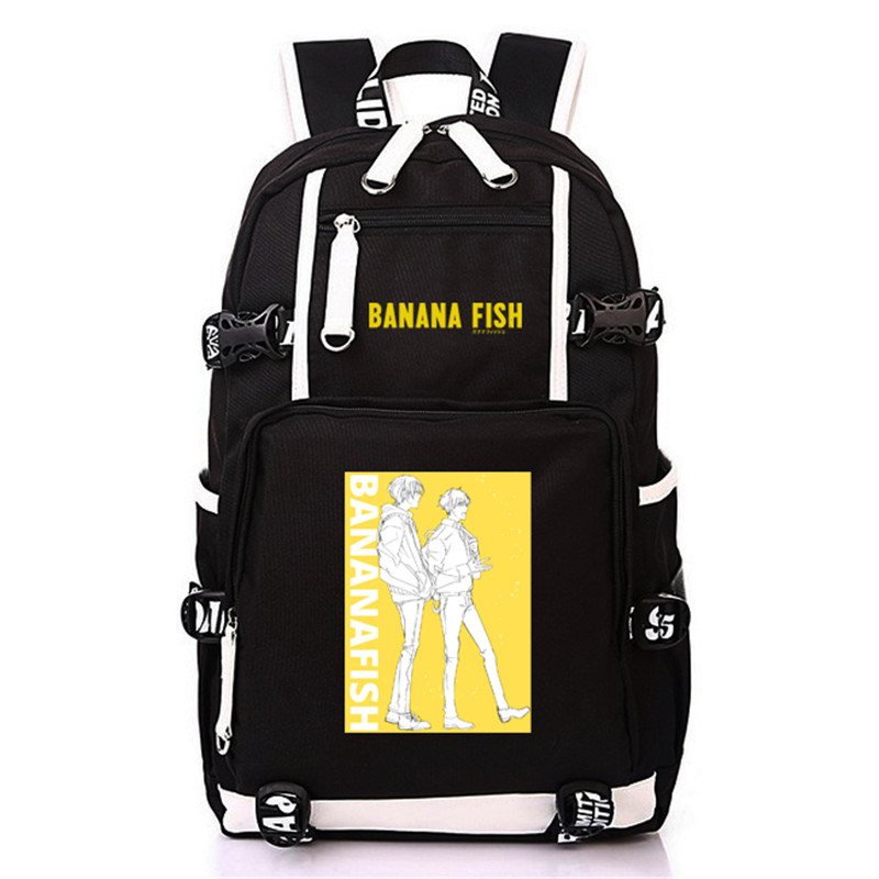 Image 5 - Anime BANANA FISH Canvas Back Pack Cosplay School Bags Anime Laptop Backpack Unisex Travel Backpack Women Shoulder Bags-in Backpacks from Luggage & Bags