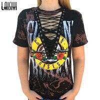 Laisiyi American Rock Music Festival Gun Roses Print T Shirt Women Hollow Out V Neck Tees