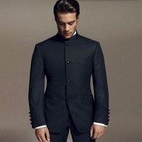 העיצובים האחרונים ברוס לי סגנון חתן חליפות טוקסידו שחור צווארון מנדרינה מעיל + מכנסיים חליפות ערב חליפות חתונה גברים