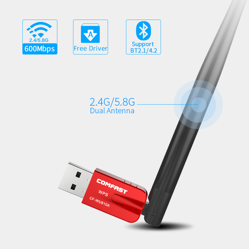 Comfast CF-WU910A Dual Band 5.8G USB WiFi Adapter 600Mbps Wifi Receiver Wireless Network Card Bluetooth 4. 2 Adapter WiFi Dongle mocreo wireless bluetooth 4 0 edr usb dual mode transfer receiver adapter mini dongle black