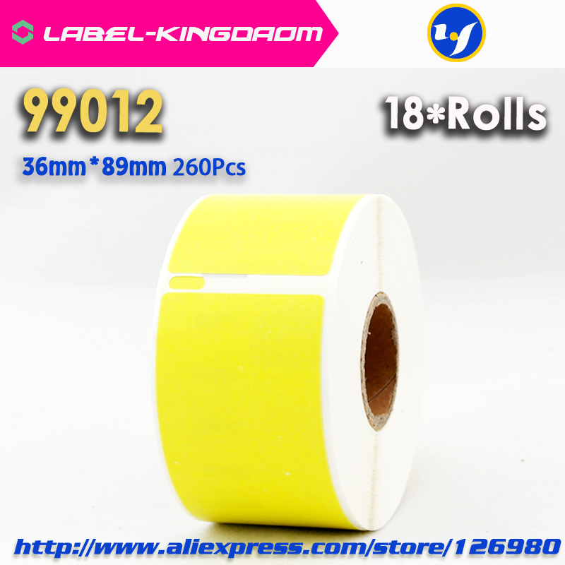 18 Rolls Yellow Color Generic Dymo 99012 Label 36mm 89mm 260Pcs Compatible for LabelWriter400 450 450Turbo