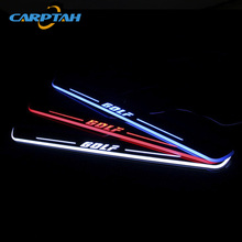 CARPTAH Trim Pedal Car Exterior Parts LED Door Sill Scuff Plate Pathway Dynamic Streamer light For Volkswagen Golf 7 MK7 2014-16