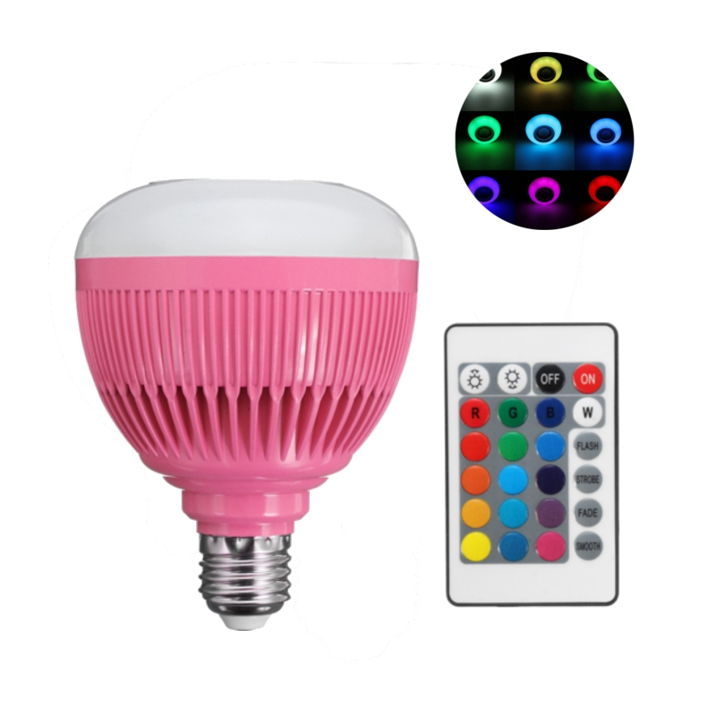 Best Promotion Smart LED Lamp Bulb E27 12W RGB Wireless Bluetooth Speaker Music Home LED Light Bulb With Remote Control 110-240V lightme smart e27 light bulb intelligent colorful led lamp bluetooth 3 0 speaker for home stage energy saving led light bulbs