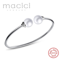 Personalized Bangle Engrave Initial Bracelet Solid 925 Sterling Silver Custom Name Bracelet Shell Pearl Jewelry DL202
