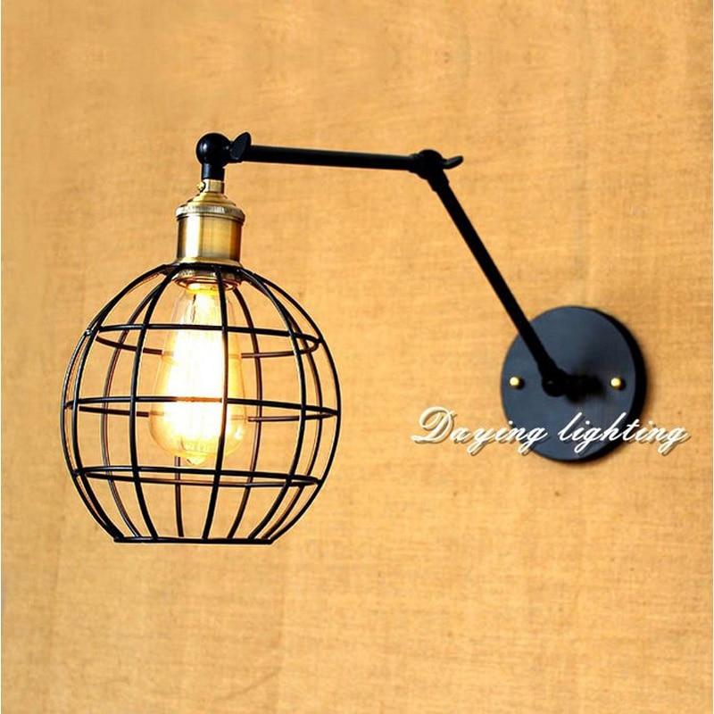 Здесь продается  Creative personality retro iron lamp lampshade American country coffee rocker arm lamp bar cage department warehouse  Свет и освещение