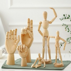 Europe Style Movable Lotus Wood Man Joint Hand Model Creative Sketch Art Children's Intelligence Development Toy Home Decoration