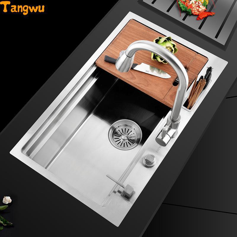 Tangwu cuisine 304 en acier inoxydable à la main évier creux unique grand laver la vaisselle sous la table épais paquet Allemagne 78x47 cm