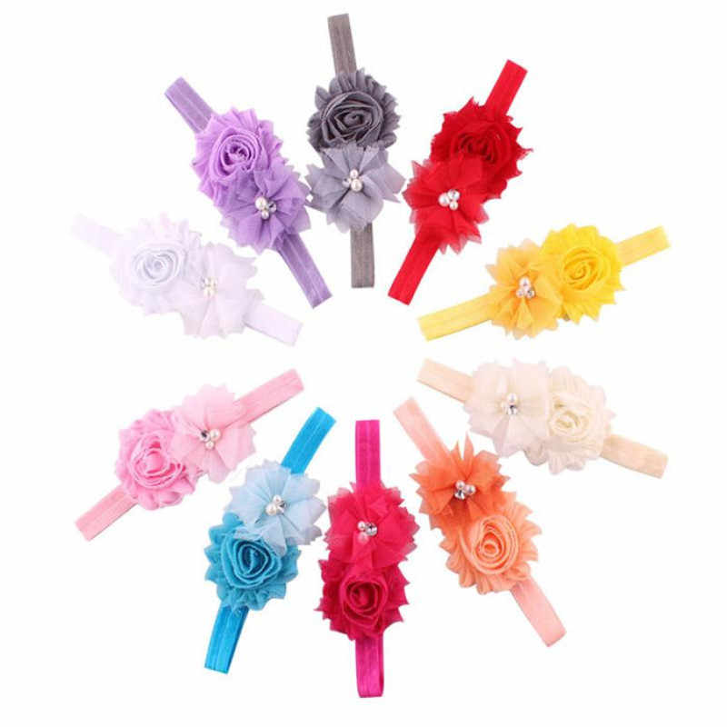 Hair Accessories Baby Hair Soft Mesh Flower Pearl Combination Elastic Jair Belt baby girl accessories