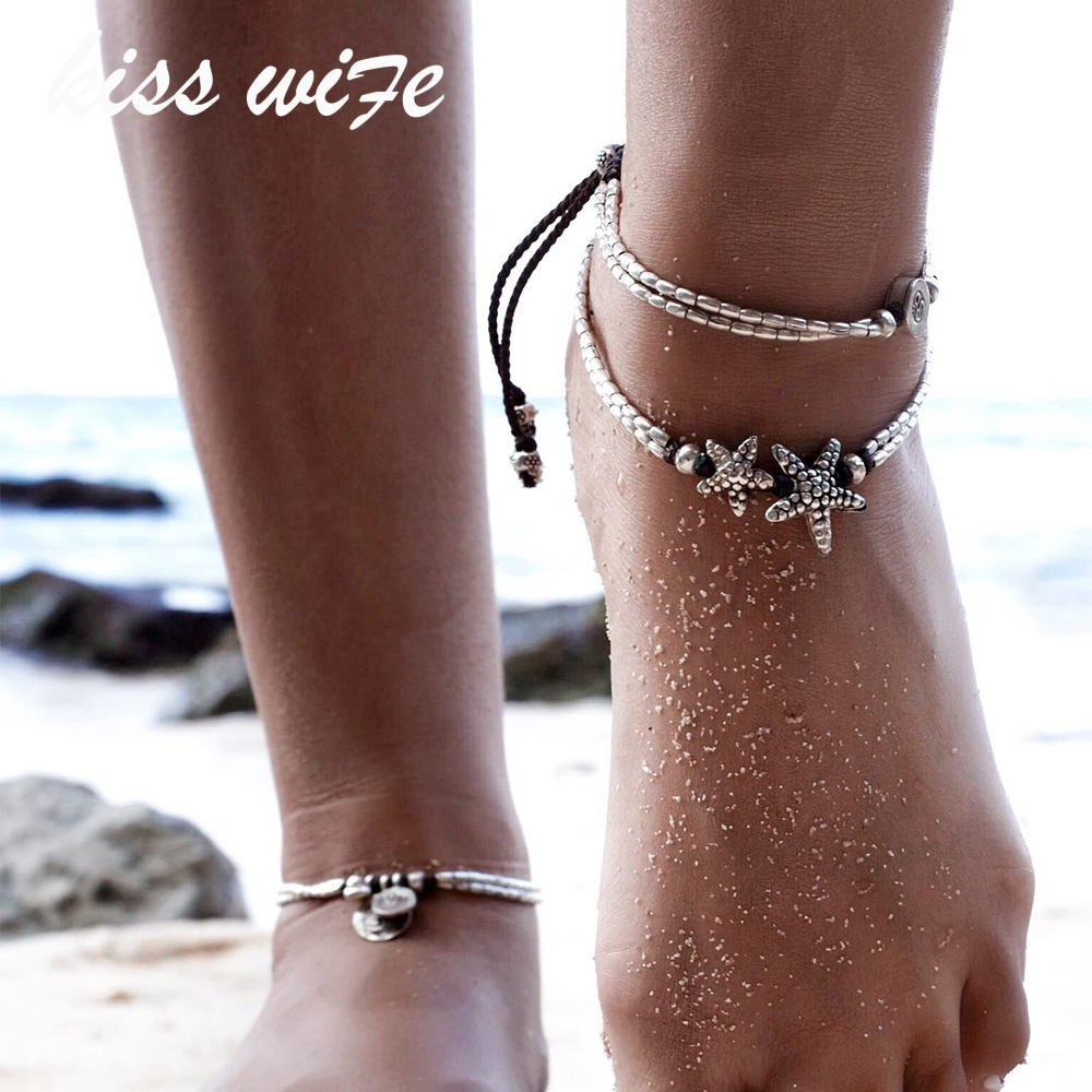 KISS WIFE Summer Beads Pendant Anklet Foot Chain Ankle Starfish Bracelet Charm Double Chain Anklet Beach Vintage Foot Jewelry